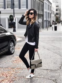 Weekend style: comfy sneakers + a chic leather jacket ✌️Also, its hard to see in this photo, but these graphic tees are my FAVORITE and currently on major sale!! Shop my full look here: http://liketk.it/2pIjA #liketkit @liketoknow.it