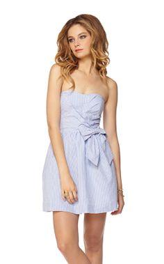 Seersucker Strapless Sweatheart Dress
