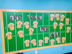 """Campus Theme """" One Team One Goal"""" Bulletin board- plastic football field table cloth from Walmart, jerseys made in PhotoShop w teachers names on the back. Kids will add stars to the jerseys for Typing goals they meet!"""