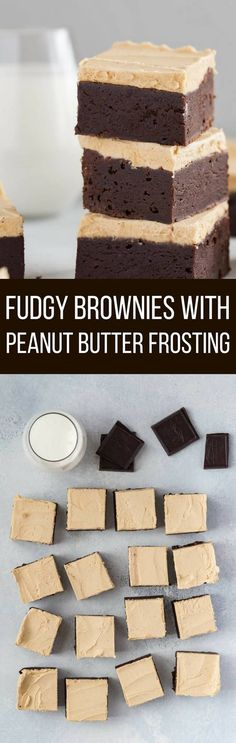 Fudgy Brownies with Peanut Butter frosting are ridiculously delicious. The thick layer of creamy peanut butter frosting take these brownies right over the edge.