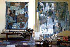 Boro - Patched old indigo fabric. Textile Fiber Art, Home Textile, Indigo Walls, Textile Recycling, Boro Stitching, Visible Mending, Denim Ideas, Japanese Textiles, Vintage Interiors