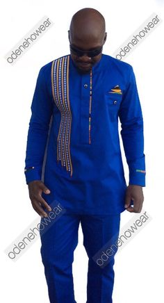 Odeneho Wear Mens Polished Cotton Top And Bottom With Embroidery Design And Kente. Our top and bottom are usually custom made. Please email us if African American Fashion, African Print Fashion, Africa Fashion, African Fashion Dresses, African Outfits, African Attire, African Wear, African Women, African Dress