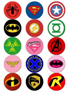 SUPERHERO LOGO V2 EDIBLE WAFER PAPER OR ICING SHEET TOPPERS CUPCAKE