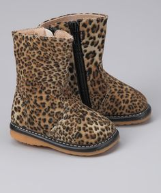 Take a look at the Black & Beige Leopard Squeaker Boot on #zulily today!