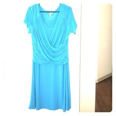 B SLIM special occasion aqua blue dress 1X Beautiful high quality dress with a built in girdle as seen in the last pic. Criss cross bodice for a flattering fit. Excellent condition and clean! Bslim Dresses Midi