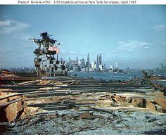 USS Franklin arrives at New York Harbor for repairs, April 1945.