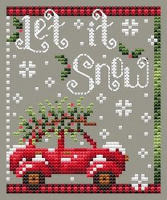 Christmas: Collage Design by Shannon Christine--Holly Days Set of 5 Patterns Including Vintage Red Pickup Truck