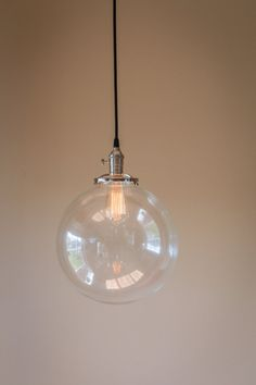 12 round clear glass globe pendant fixture by OldeBrickLighting