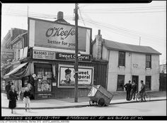 Corner of Markham and Queen Street, Toronto, May 1940 Drive In, Canadian History, Local History, Queen Street West, Toronto Ontario Canada, Canada Images, Downtown Toronto, Historical Images, Quebec City