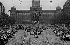 Czech citizens in sit in at Wenceslas Square, Prague, August, 1968