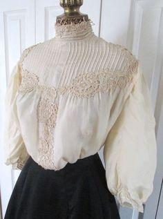 Sublime Antique Edwardian Gibson Girl Cream Tissue Silk Dinner,Tea,Bodice,c1905