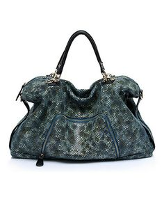 Another great find on #zulily! Blue Moussa Embossed Leather Tote by Foley & Agamo #zulilyfinds
