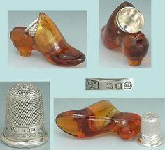 Antique-Orange-Glass-Thimble-Shoe-Sterling-Silver-Thimble-Hallmarked-1894