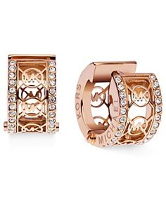 Michael Kors Rose Gold-Tone Pave Monogram Huggie Hoop Earrings - All Fashion Jewelry - Jewelry & Watches - Macy's