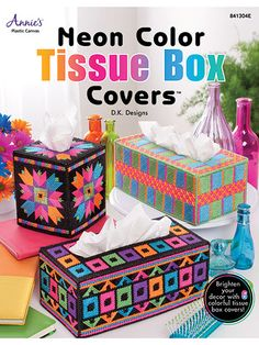 Plastic Canvas - Tissue Topper Patterns - Sets Patterns - Neon Color Tissue Box Covers