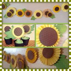 Sunflower party decorations.  Banner and cupcake toppers and holders.  Handmade by hdoodle. hdoodlesparties.blogspot.com
