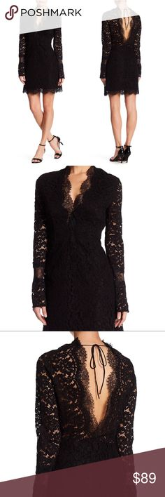 Few Moda Space Open Back Lace Dress NWOT Few Moda Space Open Back Lace Dress  - Surplice neck - Long sleeves - Side hidden zip closure - Open back with tie - Lace construction - Lined - Color Black - Imported - Fiber Content 100% polyester - Care Dry clean Few Moda Dresses