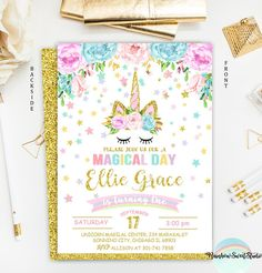 Unicorn Invitation Unicorn Birthday Invitation Rainbow