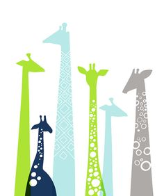 giraffes giclée print on fine art paper. 11X14. green, sky blue, navy, gray.