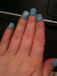 Nail Design    Blue nails with pretty design on ring finger! #nailtips