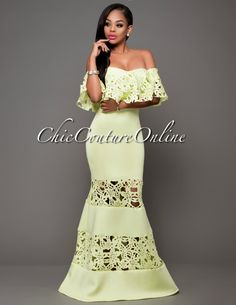 Chic Couture Online - Cannes Lime Off-The-Shoulder Ruffle Ponti Maxi Dress.(http://www.chiccoutureonline.com/cannes-lime-off-the-shoulder-ruffle-ponti-maxi-dress/)