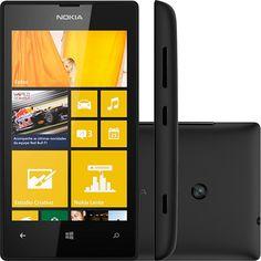Smartphone Nokia Lumia 520 Desbloqueado TIM Preto Windows Phone 8 Câmera 5MP 3G Wi-Fi Memória Interna 8G GPS