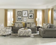 Lovely Country Living Room Decorating Ideas With Elegant Gold Fabric Curtain Window Treatment And Grey Upholstery Sofa Set Plus Flourish Pattern Accent Club Armchair, Some Modest Design Of Small Living Rooms With The Captivating Furniture For Adorning Your Dream Home: Furniture, Interior, Living Room