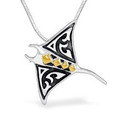 Yellow Gold and Sterling Silver Manta Ray Pendant with Tattoo Motif (Chain Additional) - Sterling Silver Jewelry - Shop
