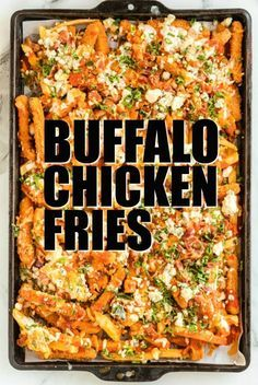 buffalo chicken nachos Looking for a fast, hearty dinner that is loaded with flavor? Try these amazing BUFFALO CHICKEN FRIES! Gooey cheese, spicy buffalo sauce, and crispy Tyson Anytizers Chicken Fries make for one amazing meal! Baked Buffalo Chicken Dip, Buffalo Fries, Buffalo Chicken Pasta Salad, Buffalo Chicken Sandwiches, Buffalo Chicken Dip Recipe, Chicken Pizza, Chicken Dips, Chicken Nachos Recipe, Fried Chicken Recipes