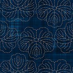 Sashiko: Hanami - Cherry Blossoms 2 Fabric By bonnie_phantasm on Spoonflower