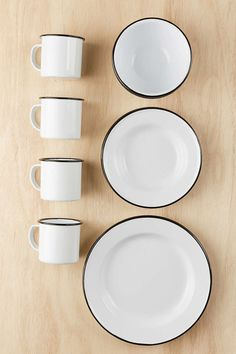 Shop Edged Enamelware Starter Kit at Urban Outfitters today. Camping Dishes, Kitchenware, Tableware, Dish Sets, Dinnerware Sets, Salad Plates, Starter Kit, Kitchen Accessories, Dinner Plates