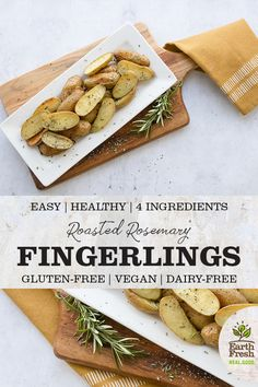These roasted rosemary fingerlings make an elegant dinner party side dish. Potato Appetizers, Appetizer Recipes, Party Recipes, Summer Recipes, Dinner Recipes, Vegan Recipes Videos, Vegan Recipes Easy, Free Recipes, Vegetarian Recipes