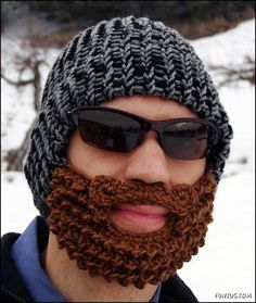 Geeky Kitschy Cool: Knitted Beard and Mustache- haha I must make this for Shawn. Crochet not knit of course Crochet Mustache, Crochet Beard Hat, Knitted Beard, Bonnet Crochet, Crochet Beanie, Hand Crochet, Crochet Hats, Knitted Hat, Crochet Pattern