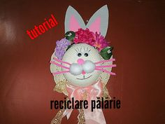reciclare palarie-iepuras-Paste Paste, Easter Crafts, Easter Bunny, Homemade, Make It Yourself, Christmas Ornaments, Halloween, Holiday Decor, Diy
