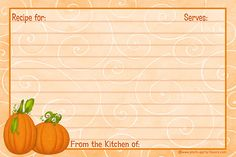 Free Recipe Card Templates | ... Recipe Cards - Free Printable 4 x 6 Inch Fall Theme Recipe Cards
