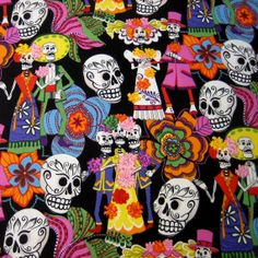 Fabric, Los Novios, Alexander Henry Skull Fabric, One Yard or More