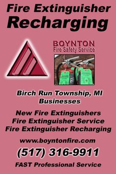 Fire Extinguisher Recharging Birch Run Township, MI (517) 316-9911 We're Boynton Fire Safety Service. Call Today and Discover the Complete Source for all Your Fire Protection!