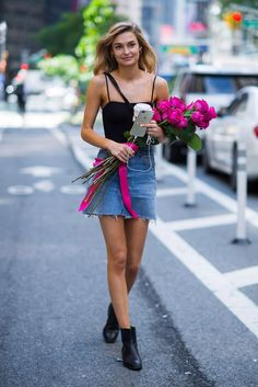 Model Roosmarijn de Kok is seen after being confirmed for the 2017 Victoria's Secret Fashion Show in Midtown on August 23, 2017 in New York City.