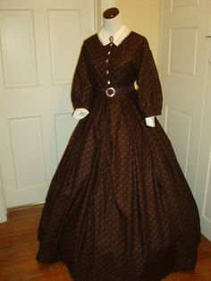 Civil War Reenactment DaY DRESS - I love how the sleeves are not so fitted.  The collar and cameo are lovely.  Simple but elegant.