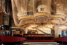 The Chandelier bar, designed by Rockwell Group, at the Cosmopolitan resort and casino in Las Vegas.