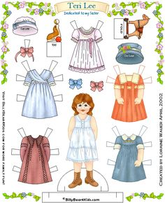 free 1900 paper doll printable - would be fun for your American Girl doll lovers!