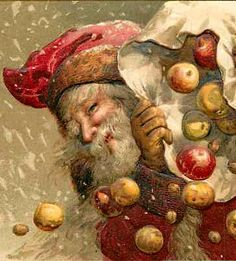 Santa with a sack of apples illustration