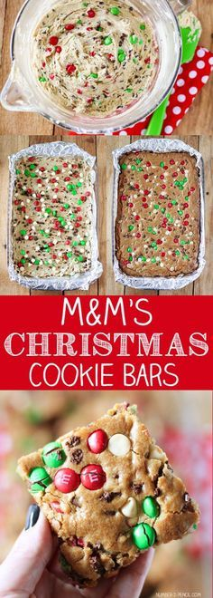 M&M Christmas Cookies I love this reciepe for christmas cookie bars are amazing and are such a simple way for you to pack the kids up for school and for those christmas treats after dinner or that nibble you need. Alot of the ingredients are everyday products that you keep at home which makes theses…
