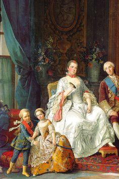 G. Baldrighi about 1755: Philippe de Bourbon, duke of Parma with his family (détail of his wife Louise-Elisabeth de France) (Galleria Nazionale, Parma)