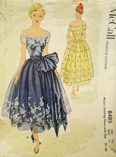 McCall 8485 vintage 50s off the shoulder full skirted prom dress style with huge sash bow
