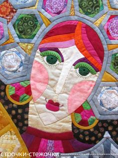 """Stone Princess - Mistress of Copper Mountain, in:  """"Three Princesses of the Underworld"""" patchwork quilt by Natalia Muraveva (Russia)"""