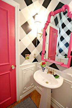 Pink, white and black bathroom makeover