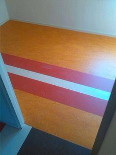 Slaapkamer Forbo Marmoleum in 3 kleuren.