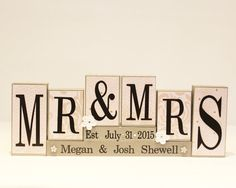 Personalized Mr and Mrs Wedding Sign Wooden Blocks, Wedding Reception Sweet Heart Table Photo Prop, Bride and Groom Gift, Bridal Shower