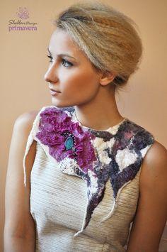 Hand felted nuno Necklace collar Purple Fuchsia -- Druzy Agate --- Wool Merino Silk --- Art OOAK